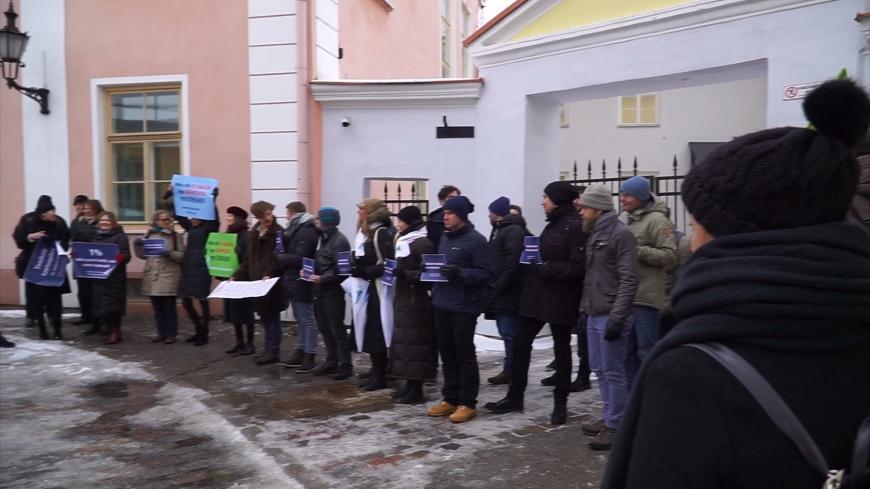 Teadlaste meeleavaldus Stenbocki maja ees 13.02.2018