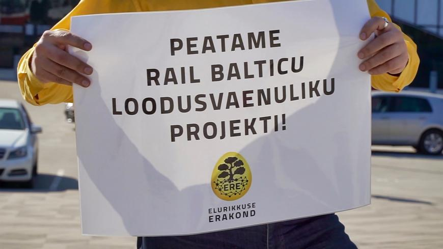 "Plakat ""Peatame Rail Balticu"""